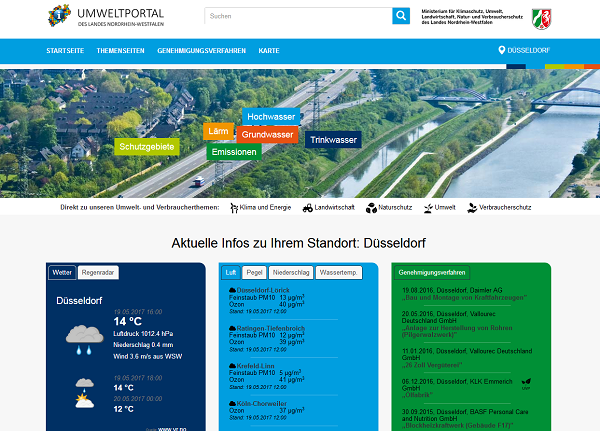 Screenshot van de website Umweltportaal
