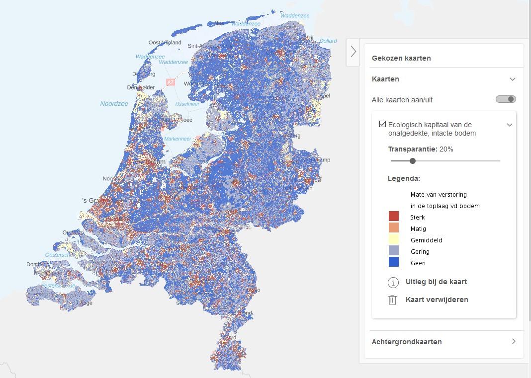 Kaart Ecologisch kapitaal van de onafgedekte, intacte bodem