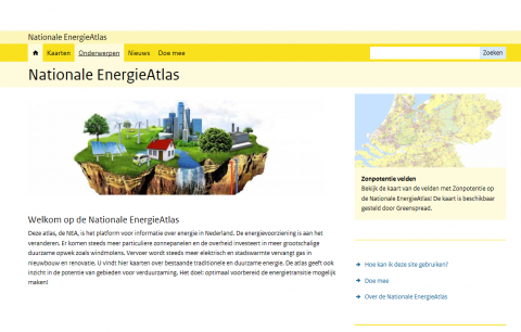 Snapshot van de website Nationale Energie Atlas